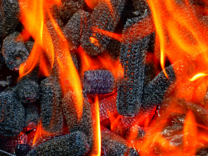 Corn cobs on fire royalty free stock photos