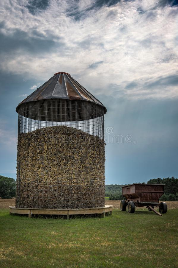Corn Crib and Wagon royalty free stock images
