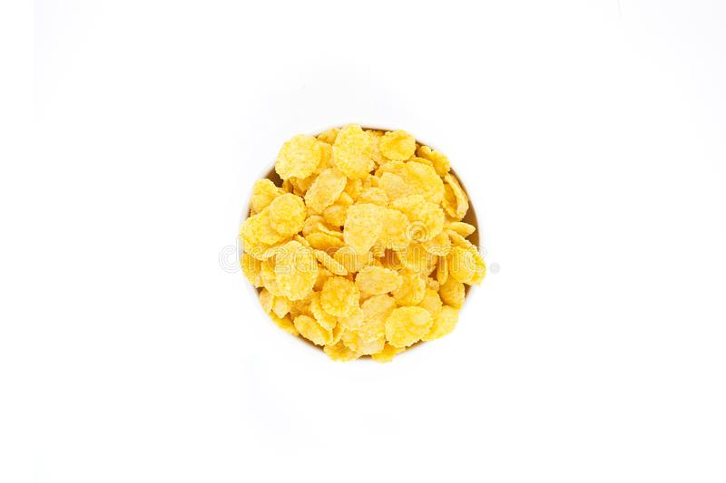 Download Corn Flakes In The Bowl Isolated Top View Stock Image - Image of fitness, delicious: 103407221
