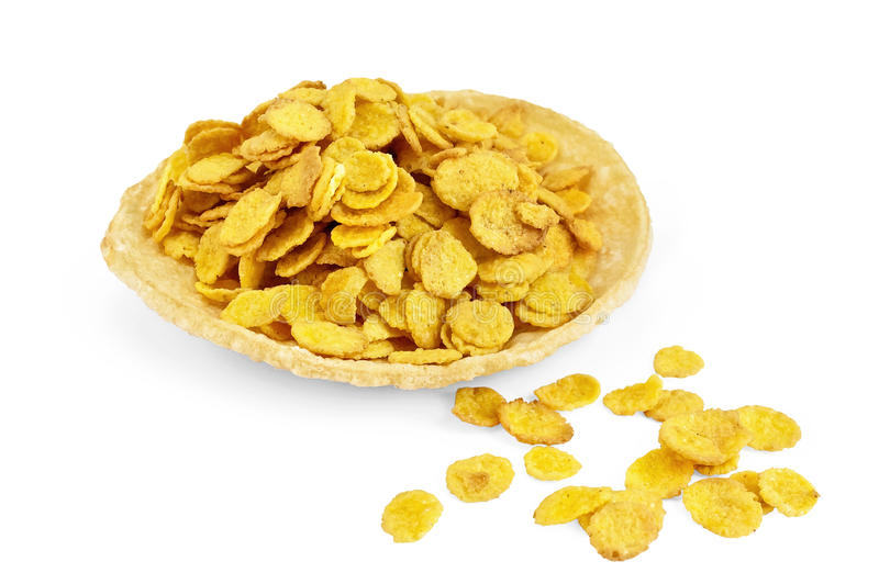 Corn flakes on bread stock photography