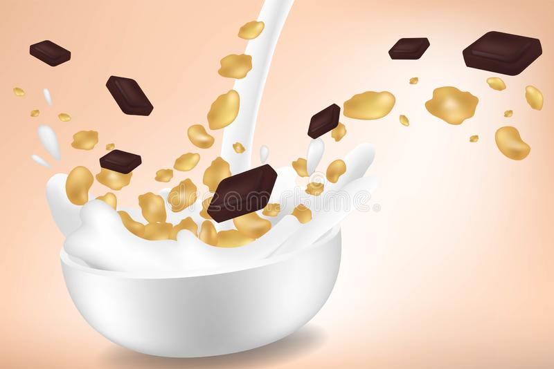 Corn flakes with chocolate pieces in big milk splash advertising flyer vector illustration. High quality art for cereal. Corn flakes in big milk splash vector illustration