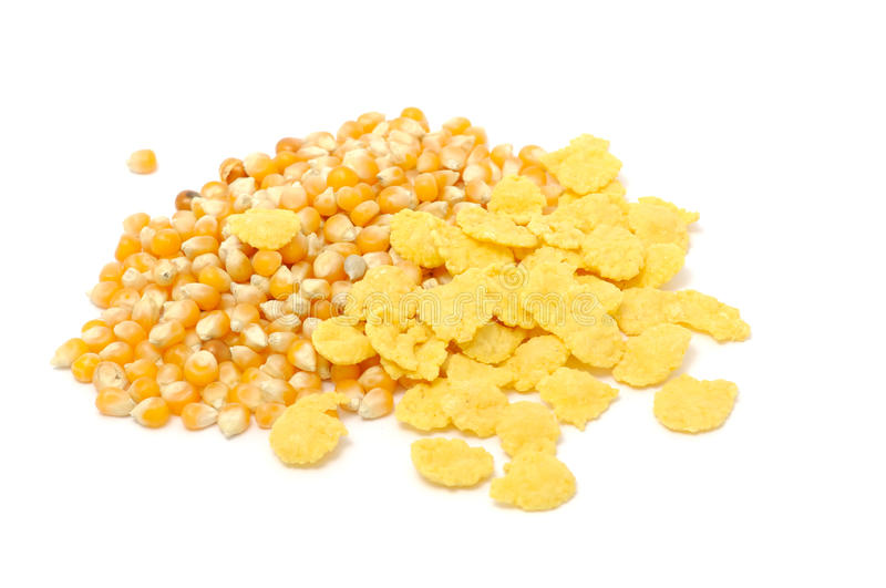 Corn Flakes And Corn Kernels. Isolated on a white background stock image