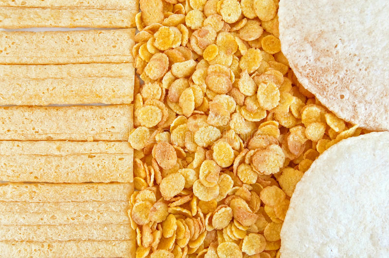 Corn flakes with loaves stock image