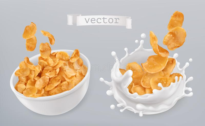 Corn flakes and milk splashes. 3d vector icon set royalty free illustration