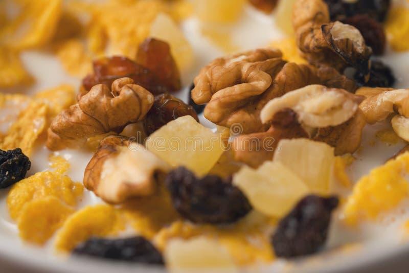 Corn Flakes mit Nüssen und Früchten in der weißen Schüssel stockfotos