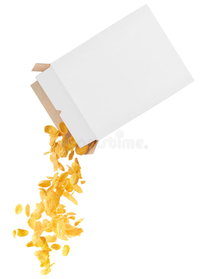 Corn-flakes strewed from box stock image