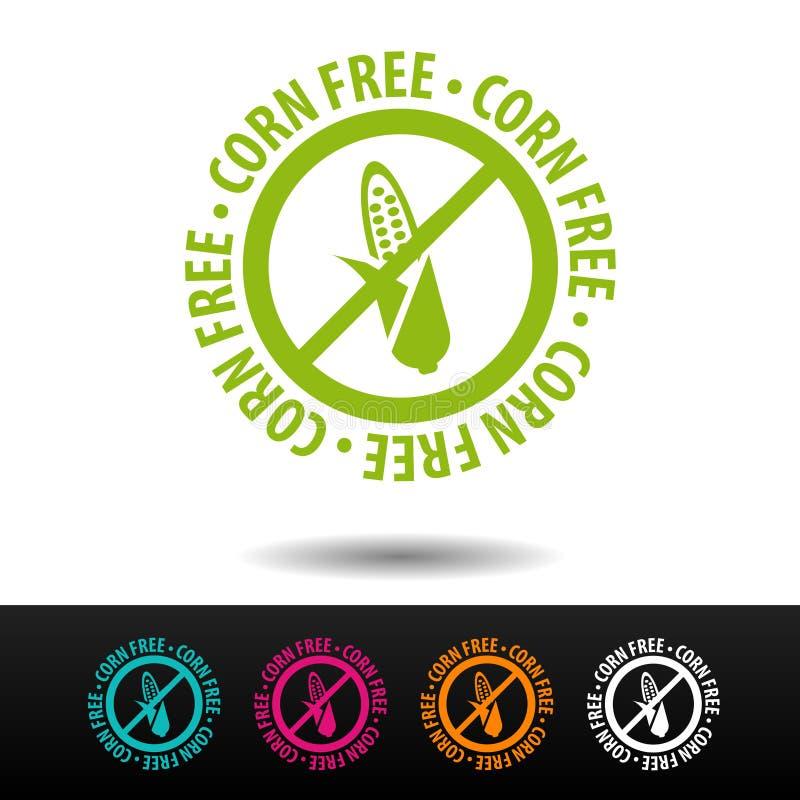 Corn free badge, logo, icon. Flat illustration on white background. Can be used business company. Corn free badge, logo, icon. Flat illustration on white stock illustration