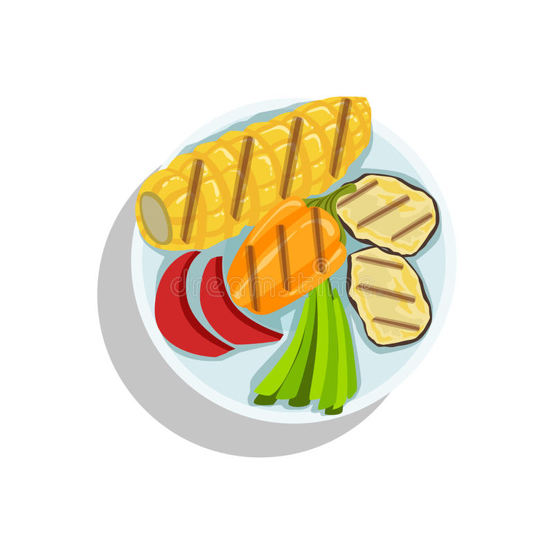 Corn And Grilled Vegetables, Oktoberfest Grill Food Plate Illustration. Beer Festival Classic Bbq Food Isolated Menu Item On White Background royalty free illustration