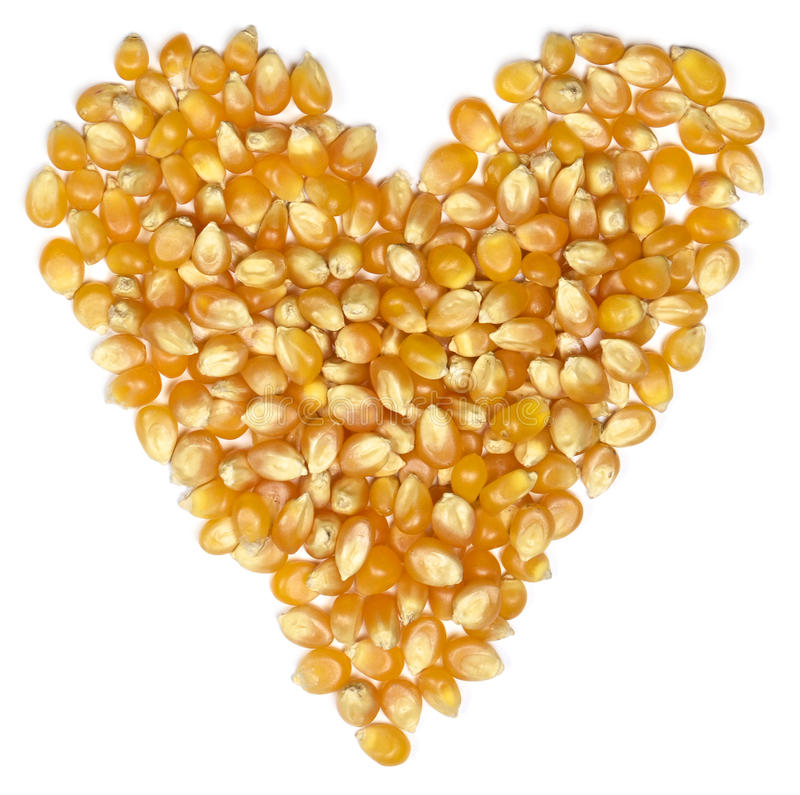 Free Corn Heart, Isolated On White Royalty Free Stock Photography - 67421687