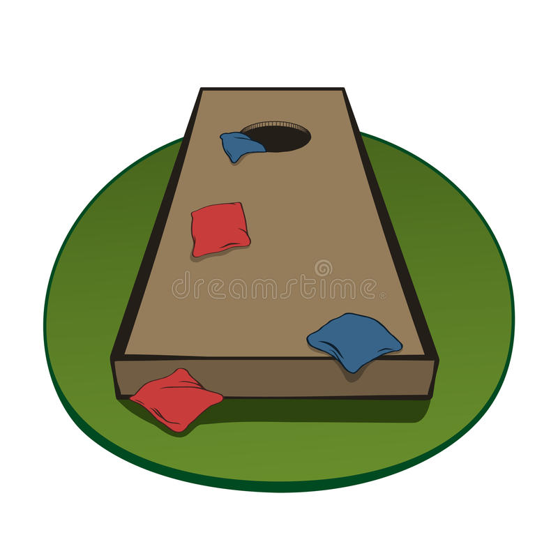 Corn hole board with bags stock illustration