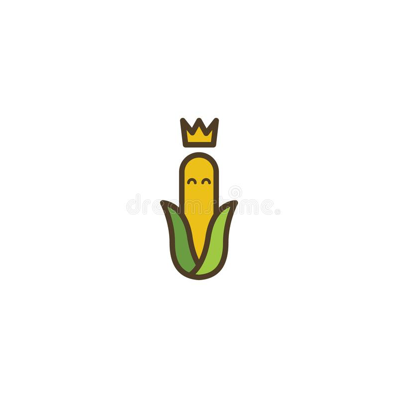 Yellow Corn king logo icon symbol simple with gold corwn and black outline cartoon illustration royalty free illustration