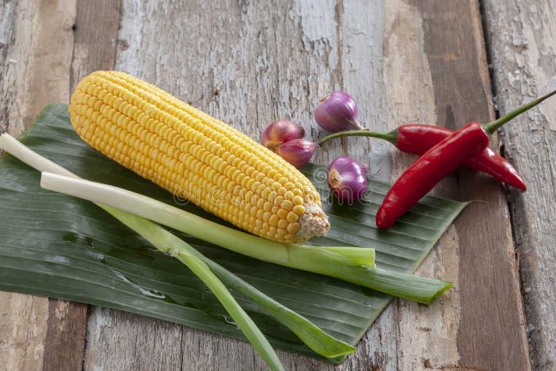 Corn leeks bananlövlök och röda chili royaltyfri bild