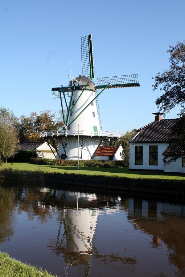 Corn mill. From 1839 in Ten Boer in the Netherlands royalty free stock photo