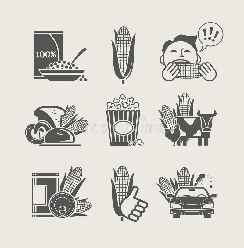 Corn and products set icon stock illustration