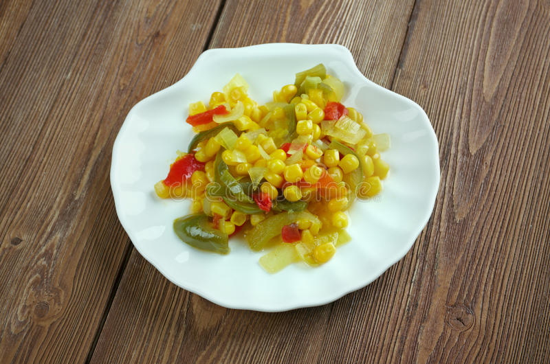 Corn relish. Homemade Canned Pickled Corn relish royalty free stock images