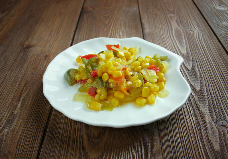 Corn relish. Homemade Canned Pickled Corn relish stock photography