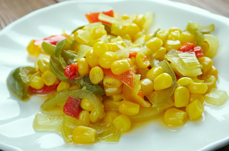 Corn relish. Homemade Canned Pickled Corn relish royalty free stock image