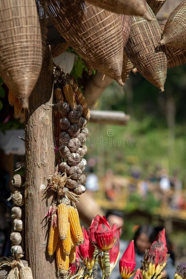 Corn and rice straw hanging in barn. In Cat cat village, SAPA,Vietnam royalty free stock photos