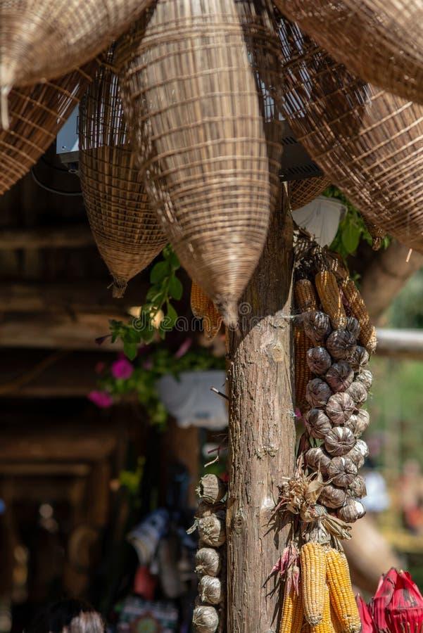 Corn and rice straw hanging in barn. In Cat cat village, SAPA,Vietnam stock photo