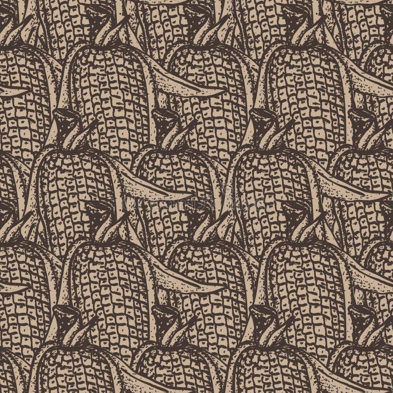 Corn seamless pattern design on craft paper royalty free illustration