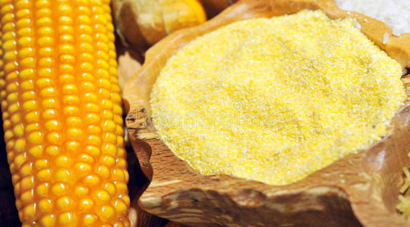 Corn seeds and flour royalty free stock image