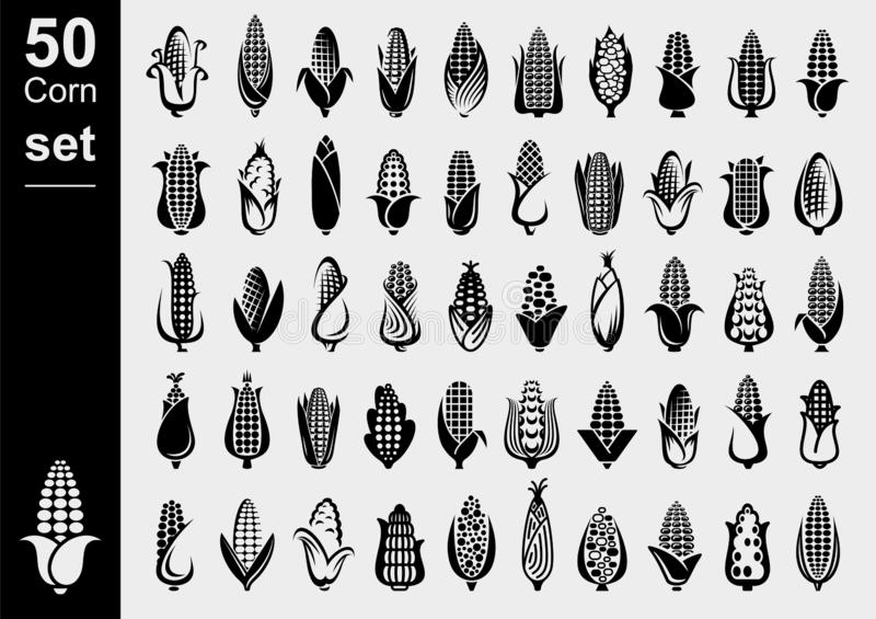 Corn set. Collection icon corn. Vector. Illustration royalty free illustration