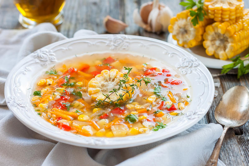 Corn soup with vegetables royalty free stock photo