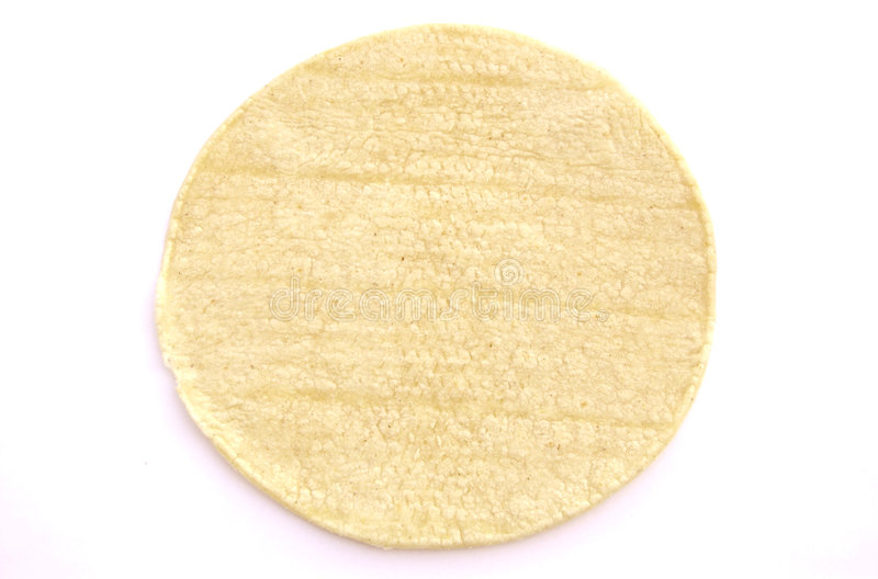 Corn Tortilla. A photograph of a corn tortilla against a white background stock images
