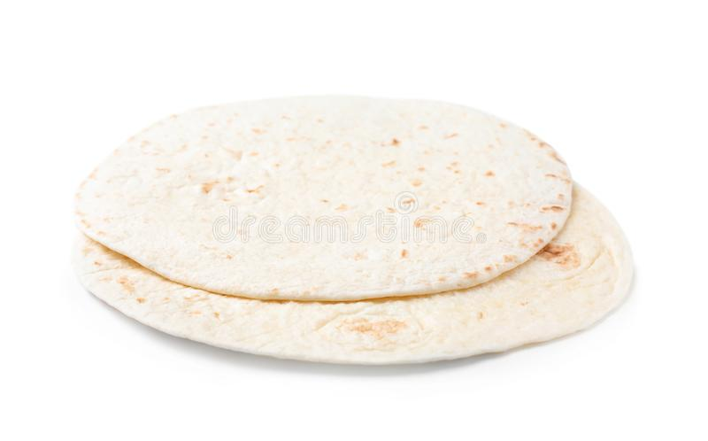 Corn tortillas on white. Unleavened bread. Corn tortillas on white background. Unleavened bread royalty free stock photo