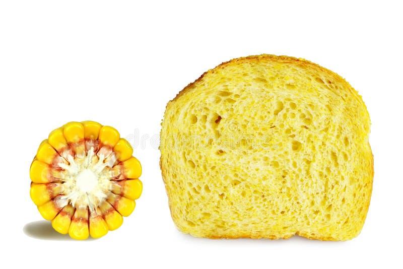 Cornbread en maïskolf op wit wordt geïsoleerd dat royalty-vrije stock afbeeldingen
