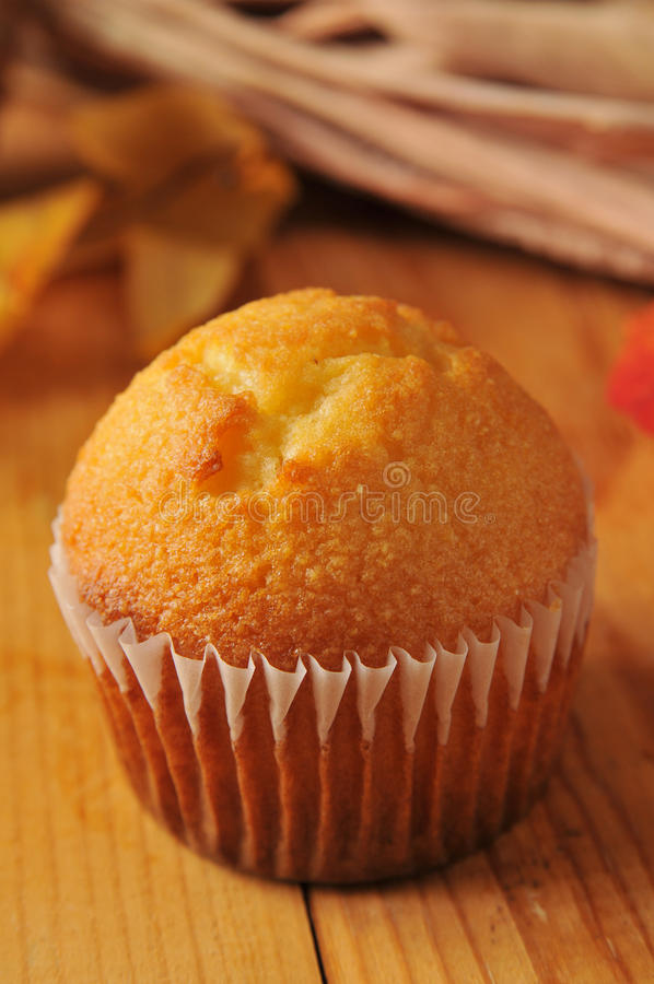 Cornbread muffin. Closeup of a cornbread muffin on a holiday table stock photo