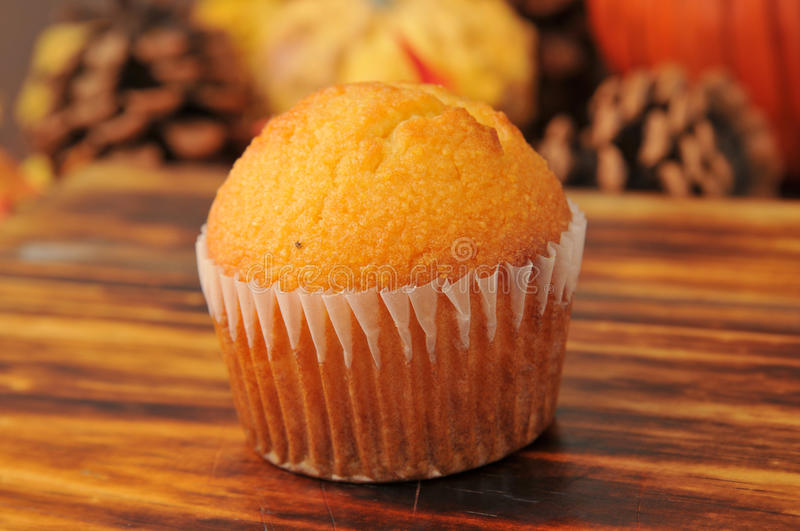 Cornbread muffin. A cornbread muffin on a holiday table royalty free stock images
