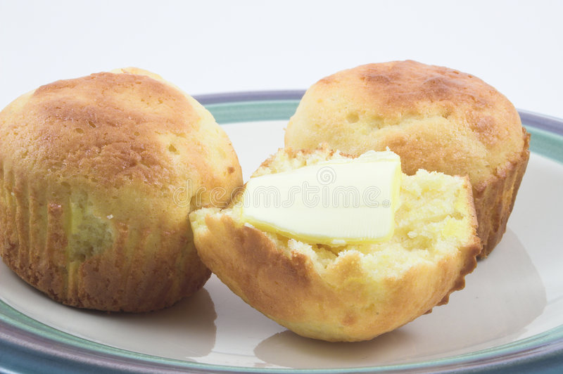 Cornbread Muffins. Steaming hot and fresh cornbread muffins stock images