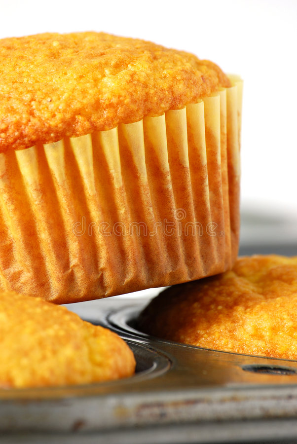 Cornbread muffins. On muffin tin royalty free stock photos