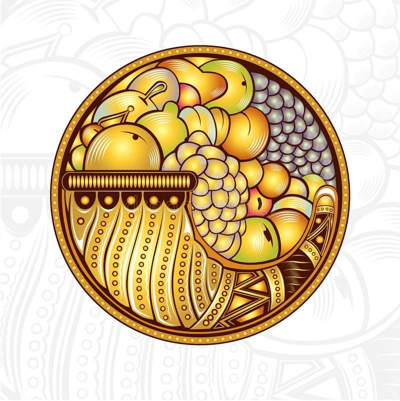 Corne d'abondance ou klaxon de fond de gravure d'abondance illustration libre de droits