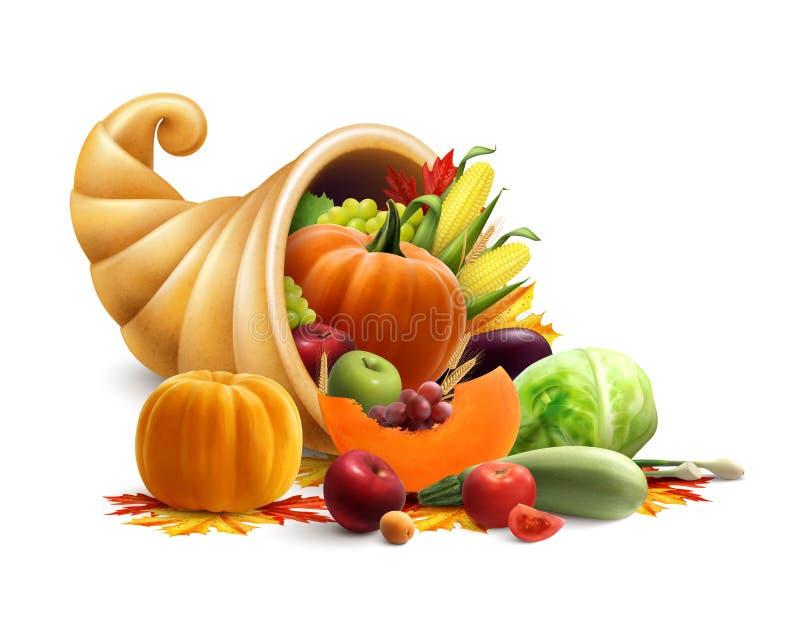 Corne d'abondance pleine des légumes et des fruits illustration stock