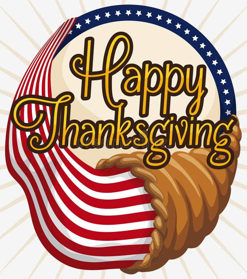 Corne d'abondance traditionnelle avec la conception américaine pour la célébration de jour de thanksgiving, illustration de vecte illustration stock