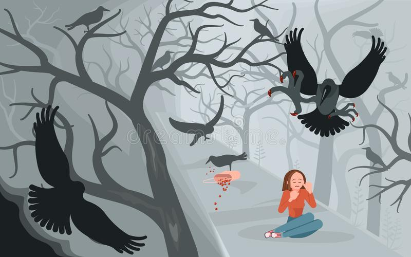 Corneilles et femme seule sur le fond effrayant de Halloween illustration stock