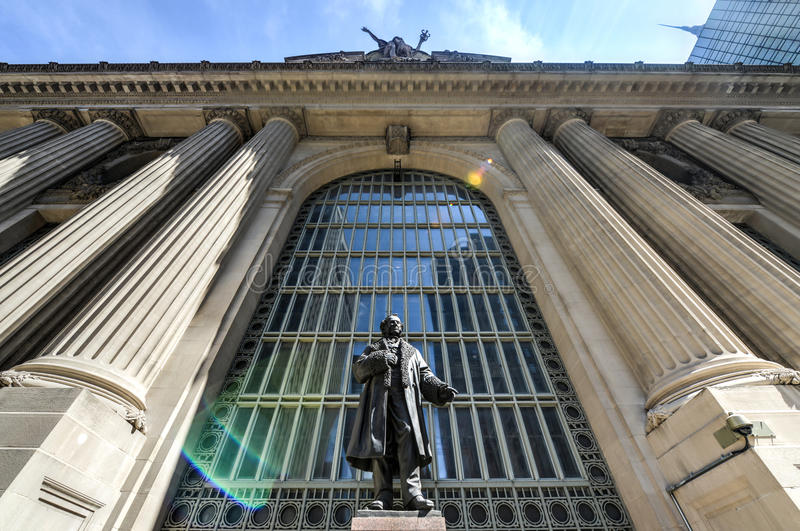 Cornelius Vanderbilt Monument, Grand Central, New York. Monument to Cornelius Vanderbilt before Grand Central Station in memory as the Founder of the New York royalty free stock photos