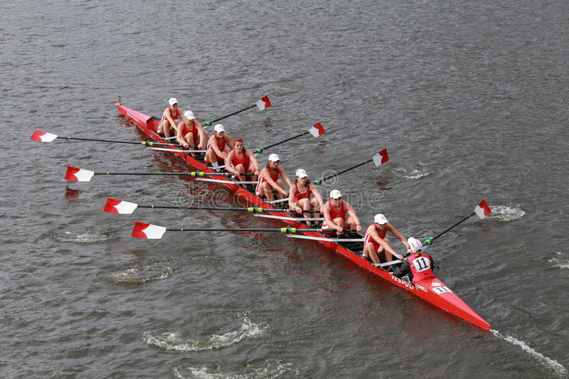 Cornell University races in the Head of Charles Regatta Women's Championship Eights stock photos