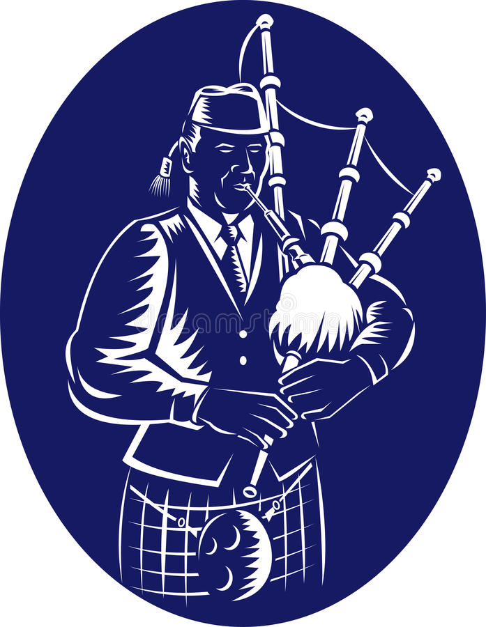 Cornemuse des montagnes grande écossaise de joueur de cornemuse illustration de vecteur