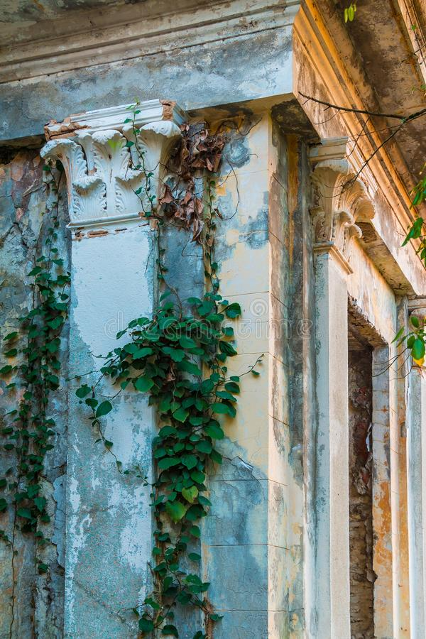 Corner of abandoned restaurant on Mount Akhun, Sochi, Russia. Corner of the abandoned building of the former restaurant on the top of Mount Akhun in autumn day stock images