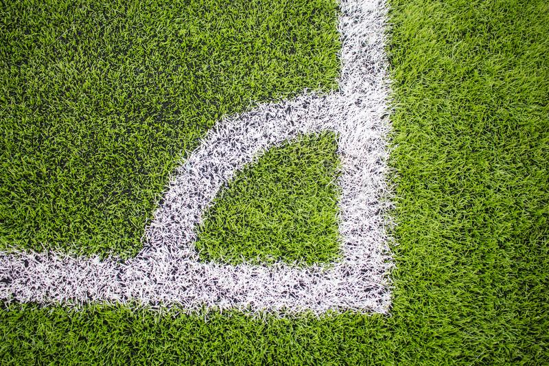 Corner of the Artificial turf football, Soccer field stock photography