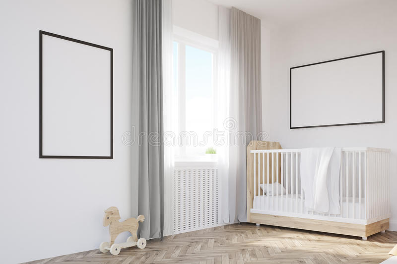 Corner of baby`s room with a crib. A large window and two framed posters hanging on white walls. 3d rendering. Mock up royalty free illustration