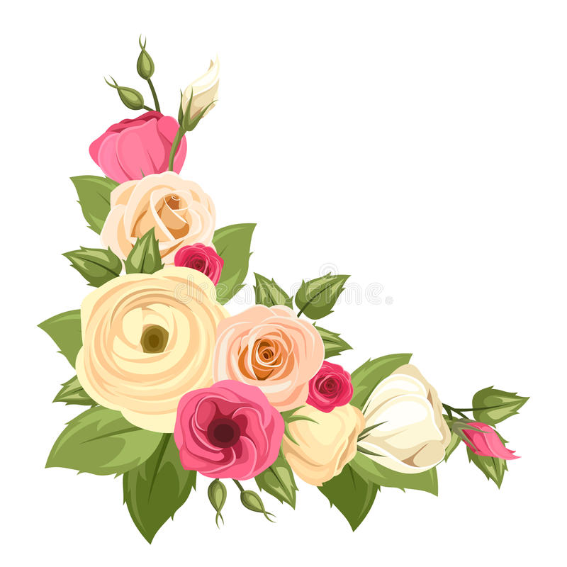 Corner background with pink and orange roses, lisianthuses and ranunculus flowers. Vector illustration. stock illustration