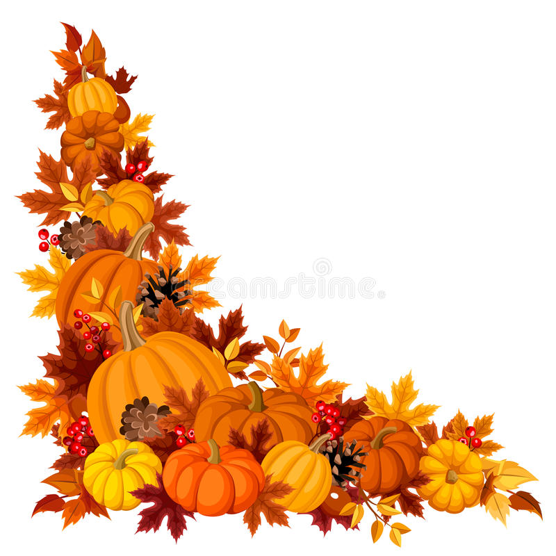 Corner background with pumpkins and autumn leaves. Vector illustration. royalty free illustration
