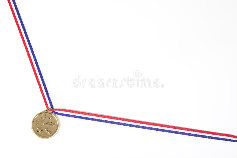 Corner border with a gold medal on a ribbon stock image
