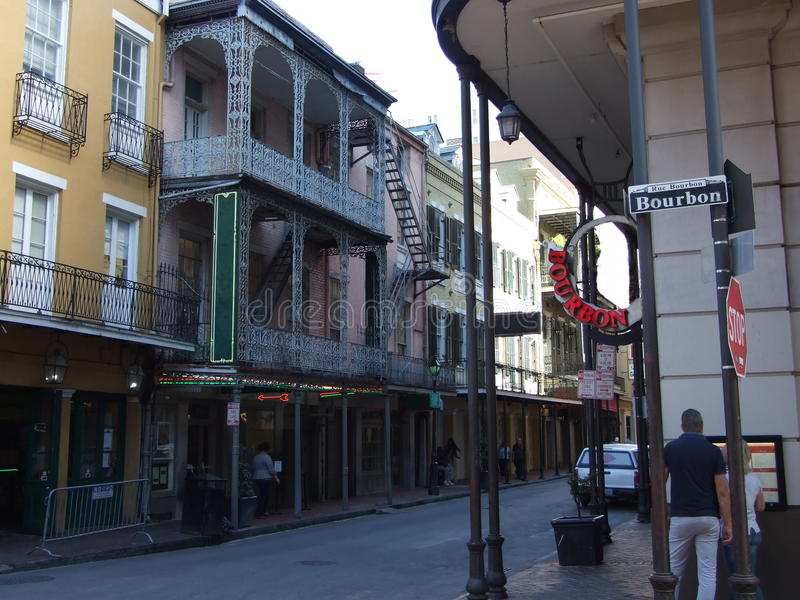Corner of Bourbon Street in French Quarter. Bourbon Street in the heart of New Orleans' oldest neighborhood, the French Quarter, in New Orleans, Louisiana stock photos