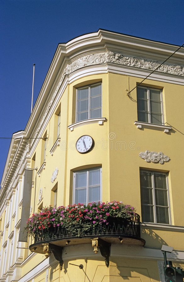 Corner Building with Flowers royalty free stock photography