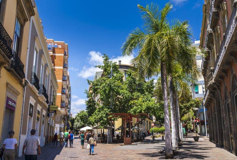 Corner of Castillio Street/ Robayna Street in Santa Cruz de Tenerife. Tenerife, Spain - May 1 2019: Corner of Castillio Street/ Robayna Street in Santa Cruz de stock photo